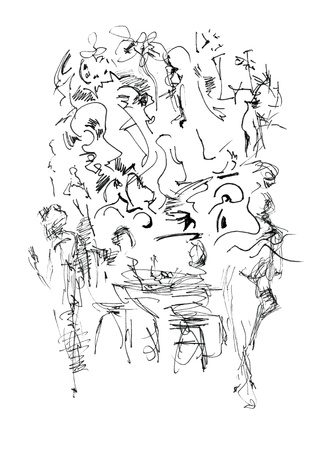 mishmash: Hand drawn abstraction coffee break in a crowded town Stock Photo