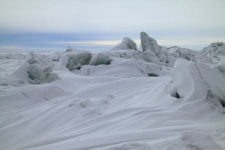 conglomeration: Ice conglomerations on the frozen sea Stock Photo