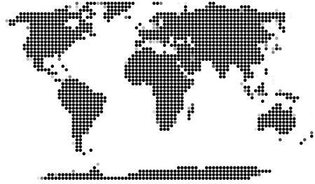 mosaic tiles: Mosaic of a world map (round pixels) Stock Photo