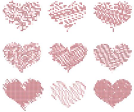 Collection of different mosaic valentines Stock Photo