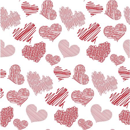 Seamless background with heart sketches
