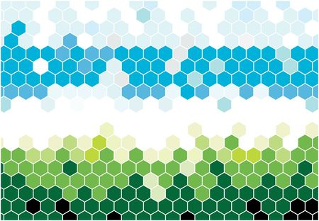 hexagon background: Hexagonal mosaic in natural colors Stock Photo
