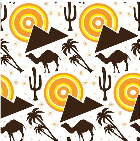 cartoon camel: Seamless desert background with camels and pyramids Stock Photo