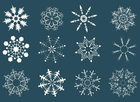 12 various snowflakes photo