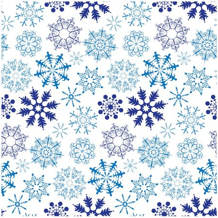 Seamless pattern with different snowflakes photo