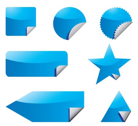 Set of blue stickers with peeling corners