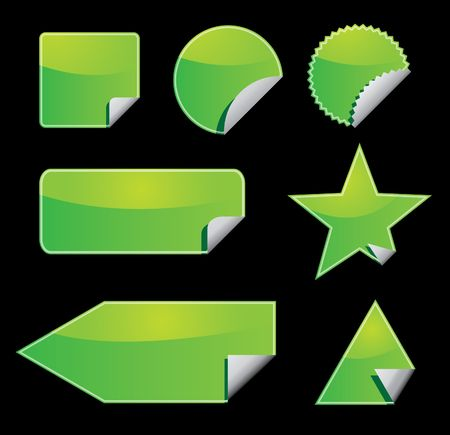 Set of green stickers with peeling corners