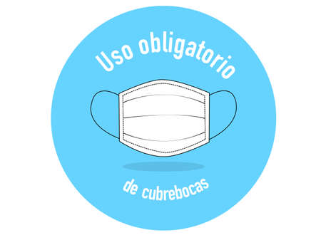 Blue banner in a circle, which indicates that it is mandatory to wear face masks, the latter is white, outlined in black