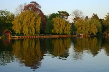berkshire: Peaceful riverside scene of the River Thames at Cookham Berkshire UK photographed in early evening sunlight Stock Photo
