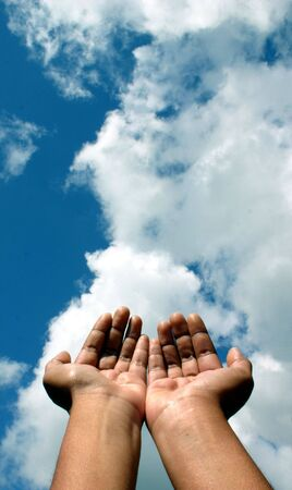 plead: Hands raised unto the heavens as if in a gesture of spiritual supplication