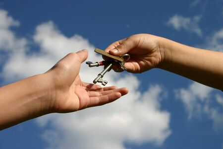 handing over: Handing over the keys - concept image