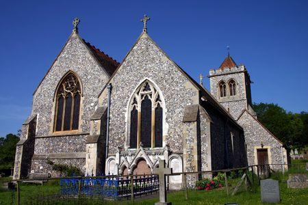 flint: Ancient Flint Church, Deep Blue Sky