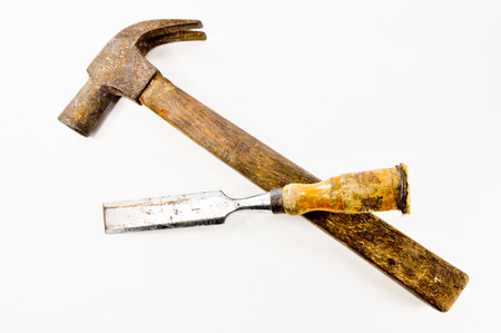 gouge: hammer and gouge Stock Photo