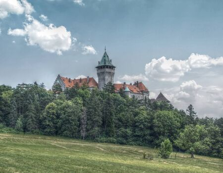 panoramatic: Chateau on Hill Surrounded by Trees