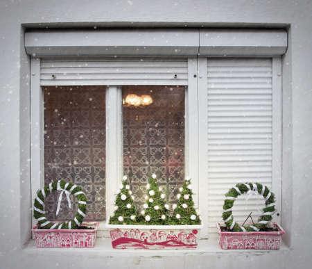 ledge: Christmas Handmade Decorations on Window Ledge