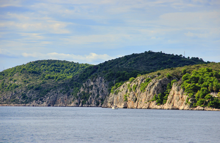clipper: Clipper in Bay with Forested Cliffs