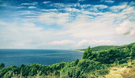 clippers: Clippers on Adriatic Sea in Croatia Coastline Stock Photo