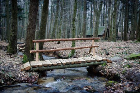 cottage house: Wooden Bridge Over Forest Brook with Cottage House Stock Photo