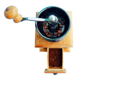 hand crank: Wooden coffee grinder on white background