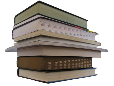 diagonal look of stacking book Stock Photo