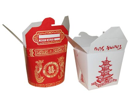 large and small chinese to go box Stock Photo