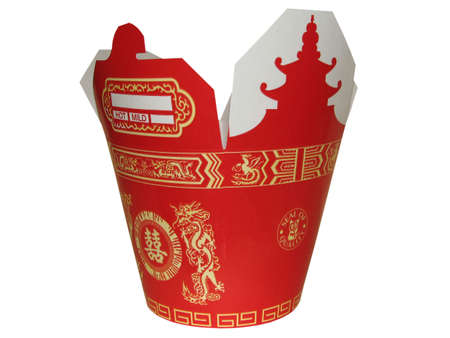 red chinese to go box with dragons picture Stock Photo