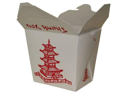 small white chinese to go box photo