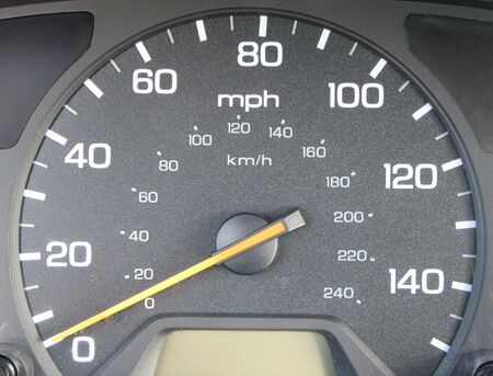 cars speed o meter with the needle at zero