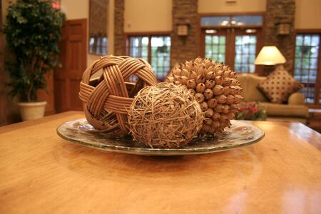 gather: bamboo ball and other bamboo stuff in nice decorated living room Stock Photo