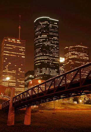 bridge cross over under night skyline