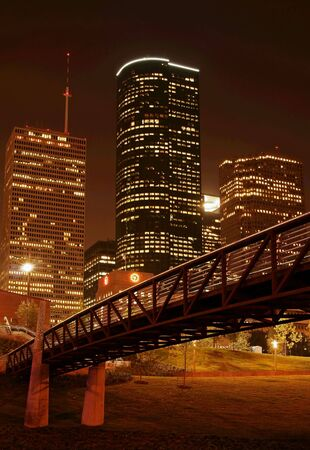 houston: bridge cross over under night skyline