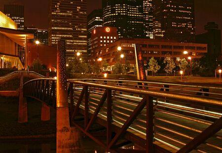 view of a bridge at night