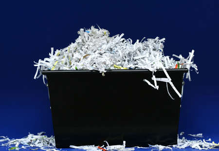 isolated shredded paper in black box