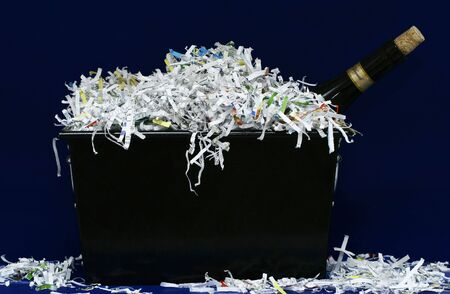 isolated wine and shredded paper photo