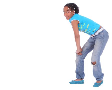 laid back: isolated african american girl with laid back pose