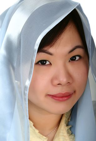 isolated pretty asian girl with hood smiling and looking to camera photo