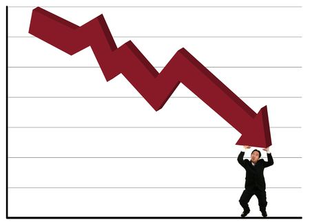 young business man show struggling expression holding up falling red stock chart