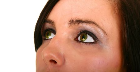 smoothen: focus on her left eye. skin was smoothen, no noise reduction used Stock Photo