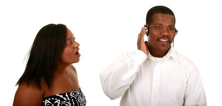 can't: african american couple cant communicate because the man is listening to music while the woman talking