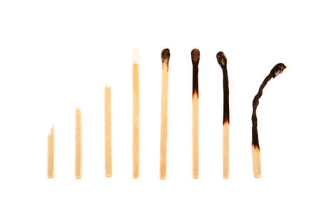 burn out: matches in a row, from broken to unlit, from lit to burn out Stock Photo