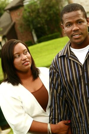 african american couple have a fight after walking on outdoor. focus on the woman Stock Photo