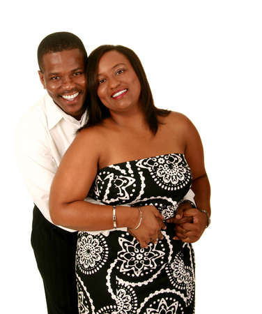 african american couple holding each other. isolated on white Stock Photo