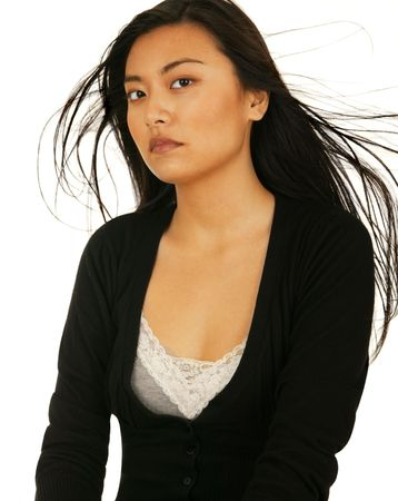 vietnamse: beauty portrait of asian girl with fly away hair