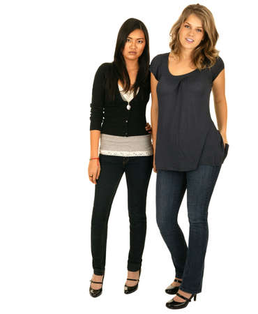 vietnamse: isolated asian and caucasian standing with regular pose