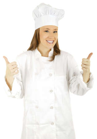 caucasian chef doing two thumbs up Stock Photo