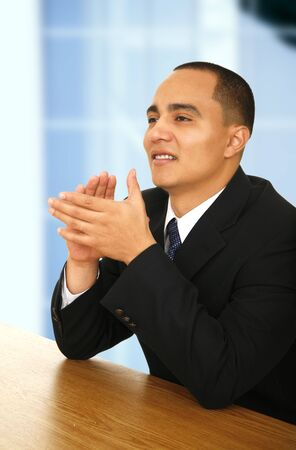 close up shot of business man clapping hand after seminar or orientation Stock Photo