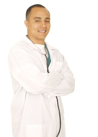 successful doctor folding hand and smile. isolated on white background