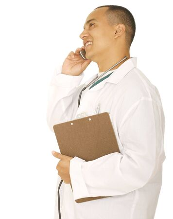 isolated man doctor on the phone holding clip board photo