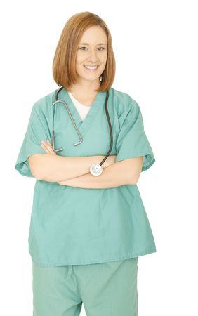 shot of happy woman nurse smiling and folding hand with stethoscope around her neck photo