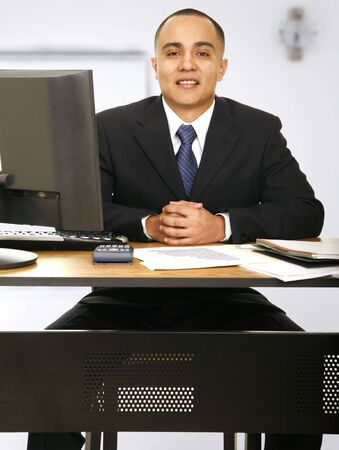 happy financial advisor smiling looking at camera waiting for your visit Stock Photo - 3140105
